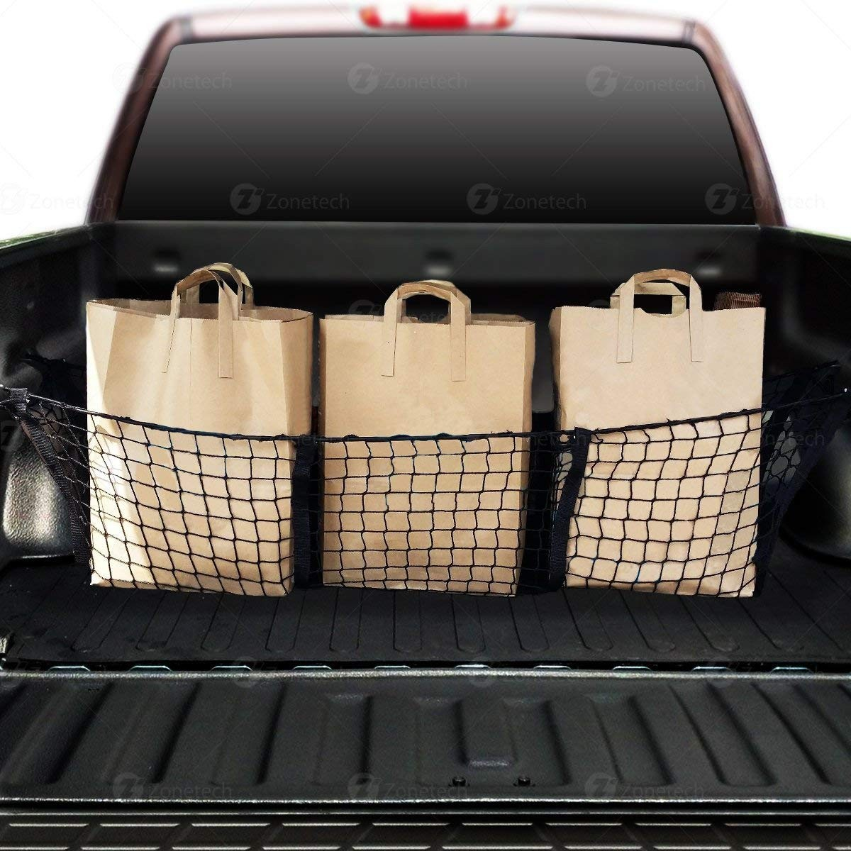 Truck Bed Storage Ideas >> Auto Accessories | Headlight bulbs | Car Gifts Car Trunk Mesh Cargo Net- Zone Tech 3 Pocket Net ...