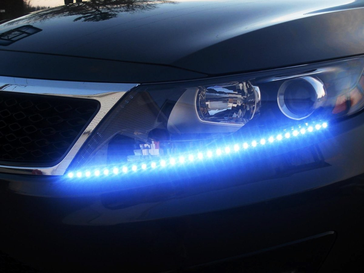 Auto Accessories Headlight Bulbs Car Gifts Blue Flexible Led Strips Set
