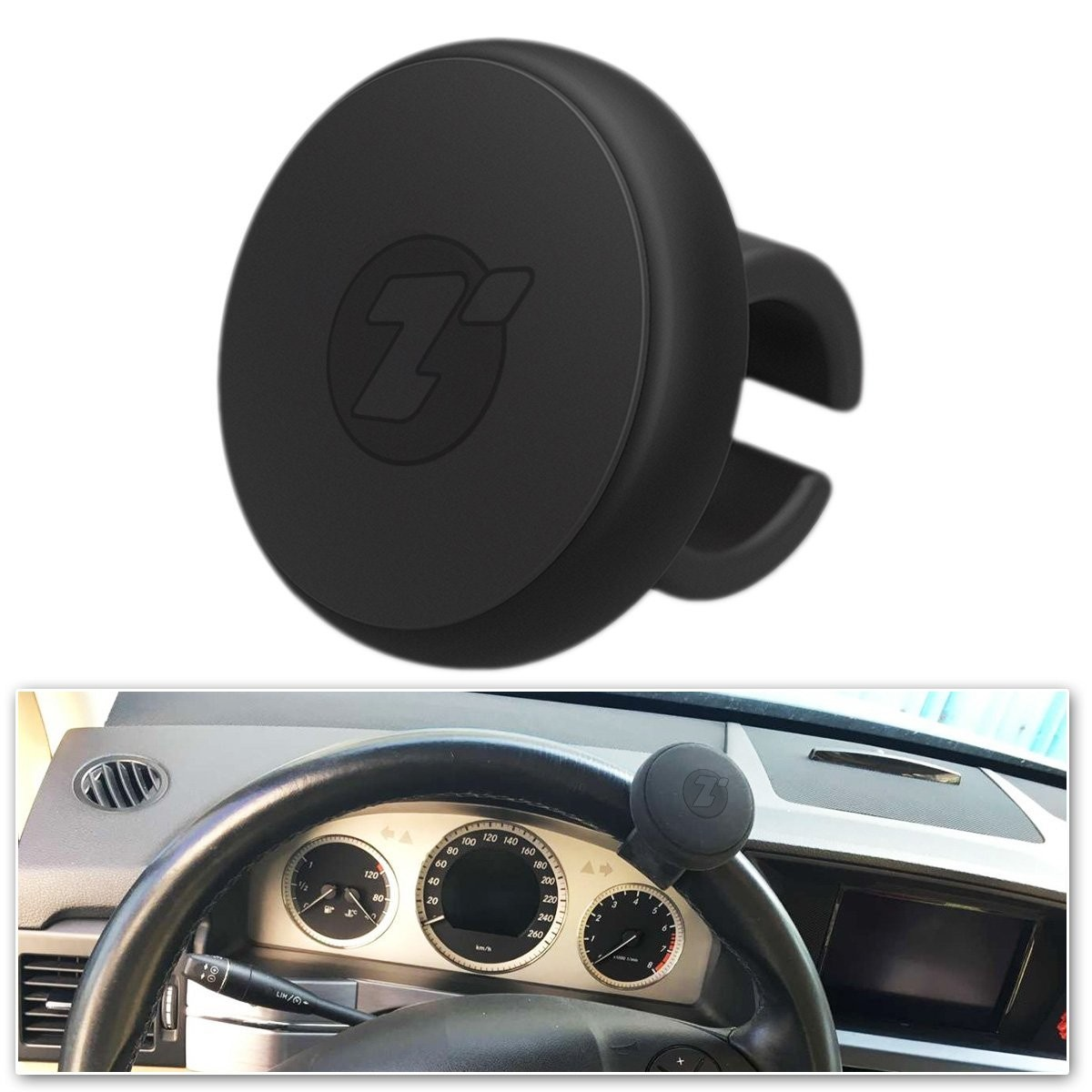 Zone Tech Classic Black Premium Quality Steering Wheel Spinner with Power Handles Universal Fit Vehicle Steering Wheel Spinner Knob