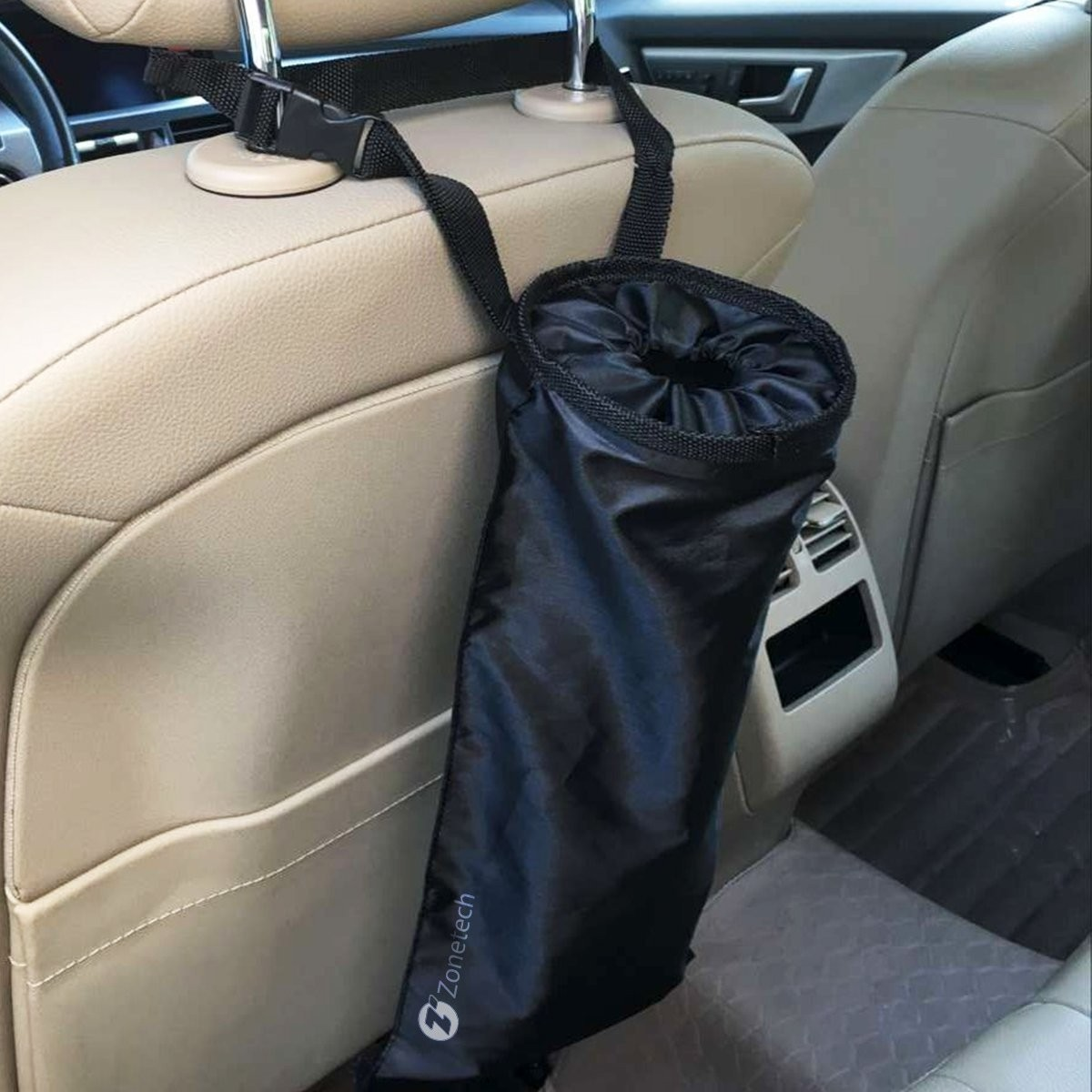 Zone Tech Vehicle Backseat Headrest Litter Bag Classic Black Premium Quality Universal Traveling Portable Car Trash Can