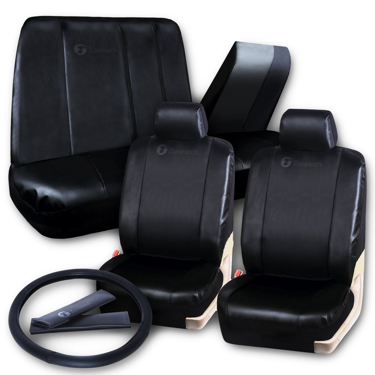 Black Matte Leather Full Seat Cover Set