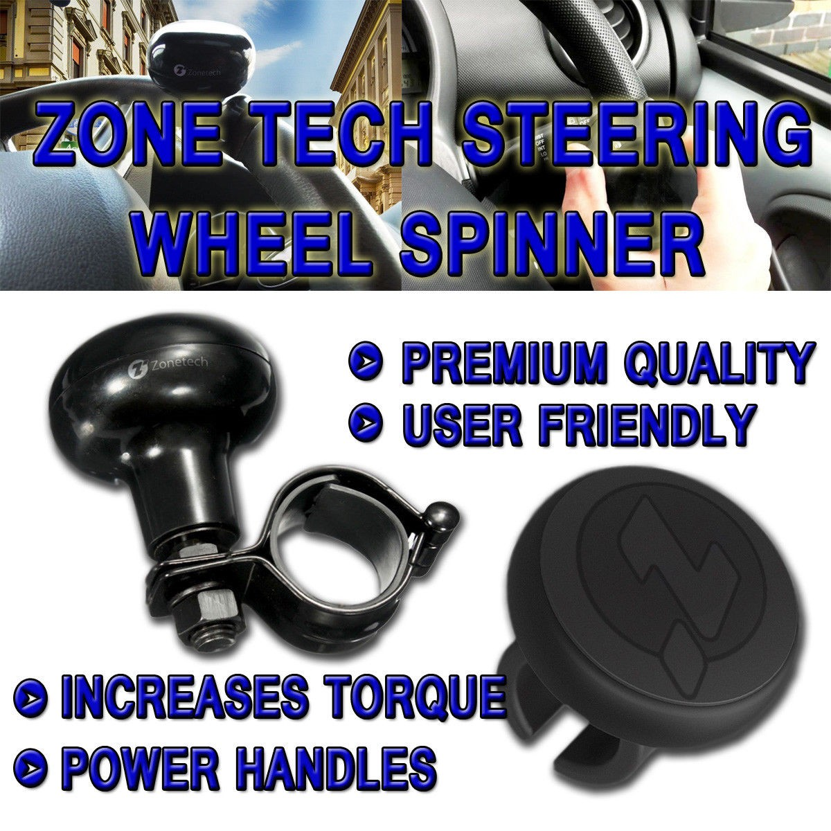 Zone Tech Suicide Classic Black Premium Quality Steering Wheel Spinner with Power Handles Universal Fit Vehicle Steering Wheel Spinner Knob