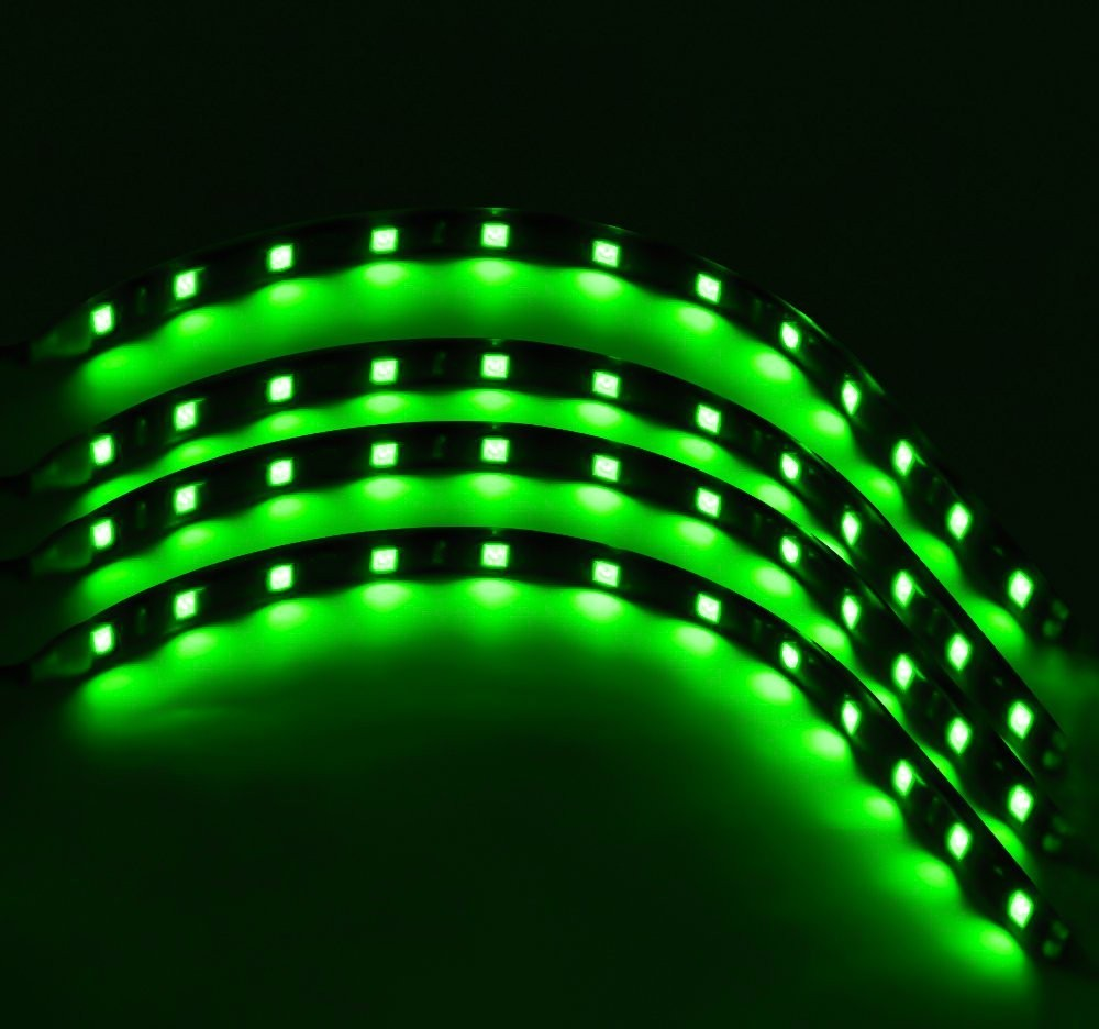 auto accessories headlight bulbs car gifts green 30 cm flexible led strips set of 4. Black Bedroom Furniture Sets. Home Design Ideas