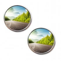Car Round Blind Spot Mirror-Zone Tech Thin Universal Fit-2 inch Stick on SUV- Rearview Aluminum Border Vehicle Mirrors