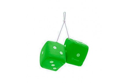 Green Hanging Fuzzy Dice- a Pair