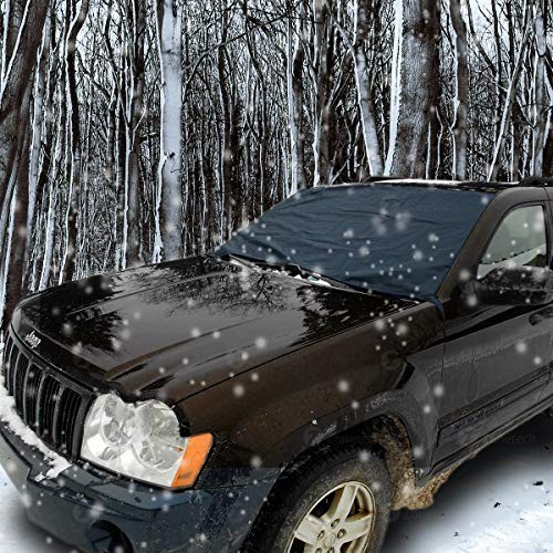 Zone Tech Winter Windshield Car Protector Premium Quality Blue Snow Sleet Ice Cover Self-Included Mesh Storage Bag