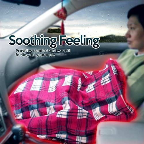 Home Premium Quality 12V Automotive Black and White Plaid Polar Fleece Material Comfortable Seat Blanket- Great for Winter Zone Tech Car Travel Blanket Road Trip and Camping