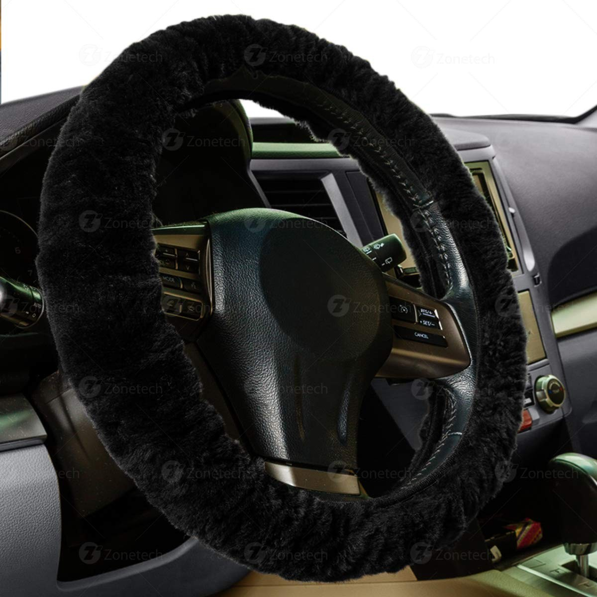 auto accessories headlight bulbs car gifts zone tech plush fauxzone tech plush faux sheepskin stretch on steering wheel cover black