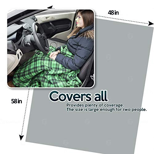 Green Plaid Premium Quality 12V Polar Fleece Material Automotive Comfortable Seat Blanket Great for Winter Road Trips Cold Days and Nights Zone Tech Car Travel Blanket