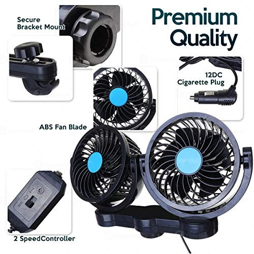 Car Cooling Air Fan 12V Zone Tech 12V Dual Head Car Auto Cooling Air Fan for Rear Seat Powerful Quiet 2 Speed 360 Degree Rotatable 12V Ventilation Rear Seat with Kids Safe Design