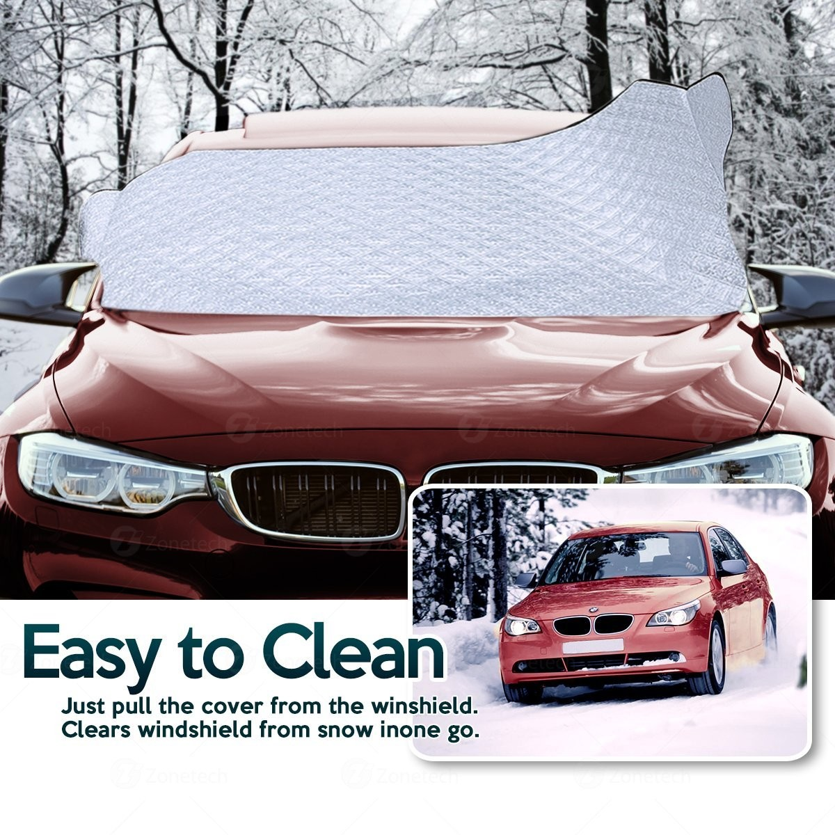 Zone Tech Car Rear Windshield Snow Ice Cover Protector with Flaps All Weather Premium Quality Summer Winter Shield Protector