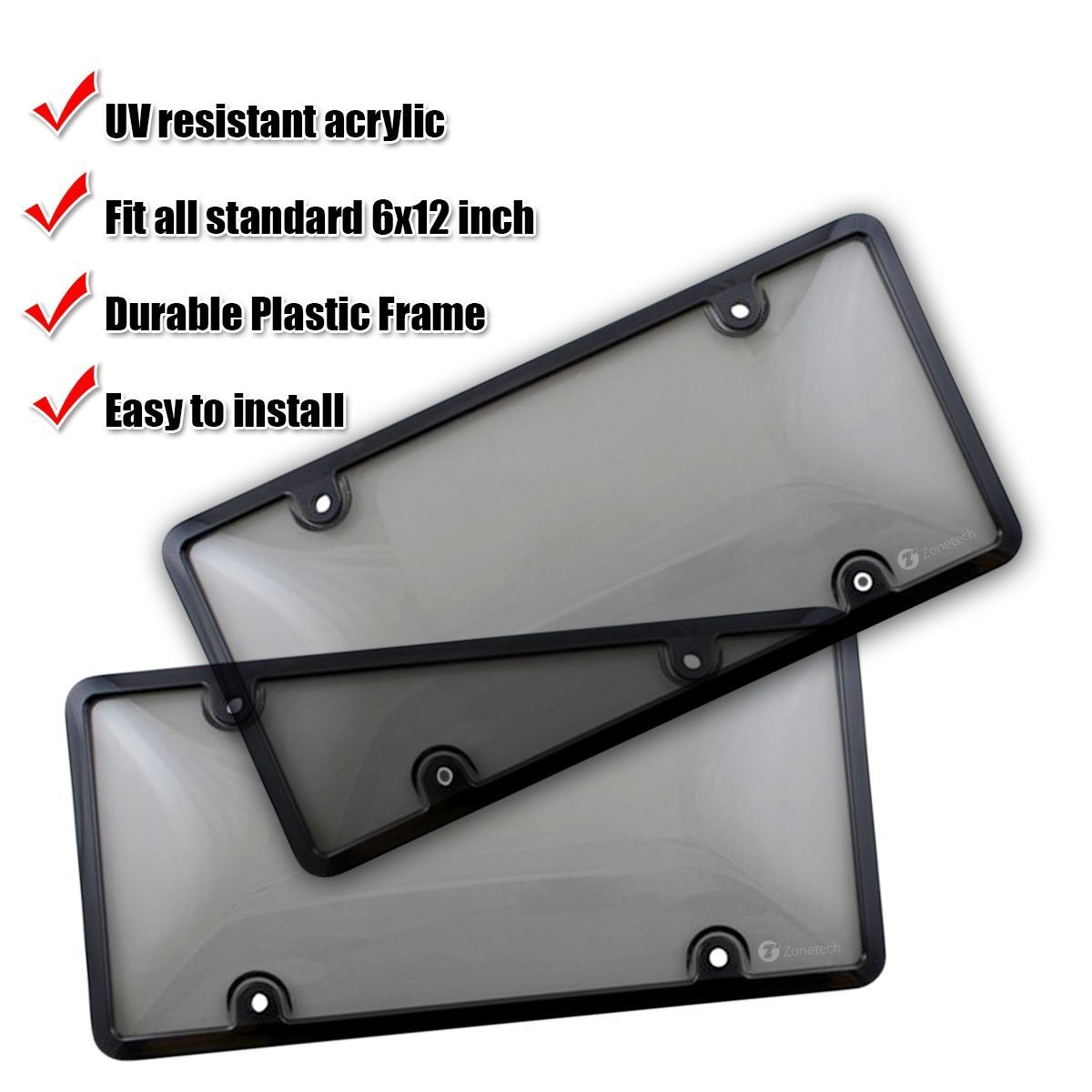 2# YUSHHO56T License Plate Cover External Modified Repair Tool Auto Car Plate Number License Tag Shield Clear Tinted Cover Acrylic Frame Screw